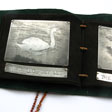 swan book leather/kid leather/etched pewter/cord 13cm x 107cm £380
